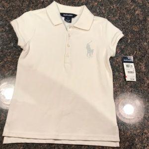 Ralph Lauren girls polo shirt off-white size 6 NWT